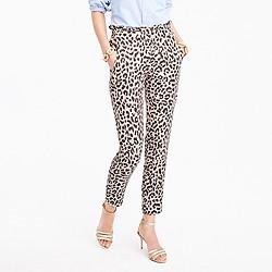 Petite ruffle-waist linen pant in leopard print