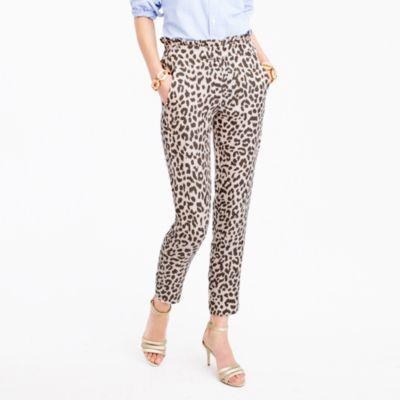 Tall ruffle-waist linen pant in leopard print