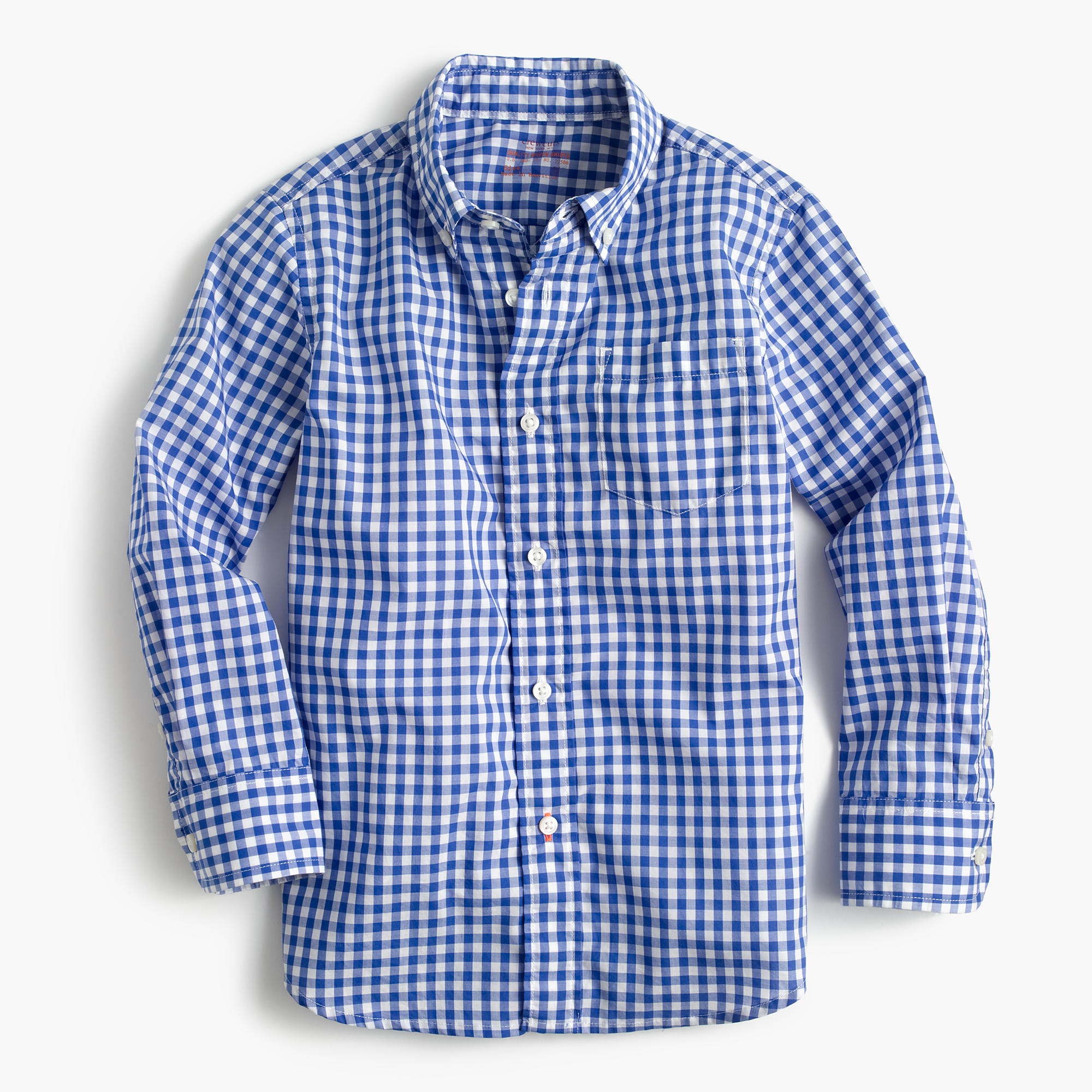 Kids 39 secret wash shirt in navy gingham boy long sleeve for Blue and white long sleeve shirt