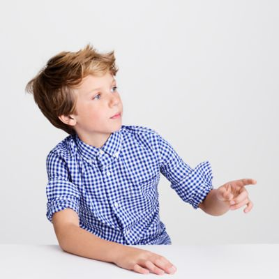 Kids' Secret Wash shirt in navy gingham