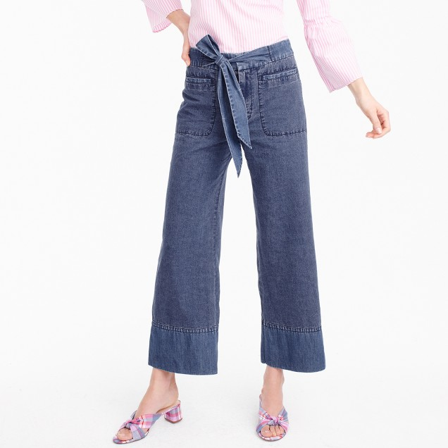 Cropped chambray pant with tie