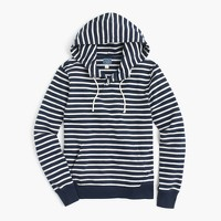 Fleece henley hoodie in nautical stripe