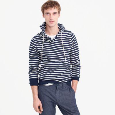 Fleece henley hoodie in nautical stripe