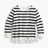 Girls' eyelet-back striped sweater