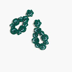Leather-backed sequin petal earrings