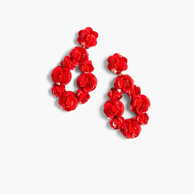 Leather-backed sequin petal earrings