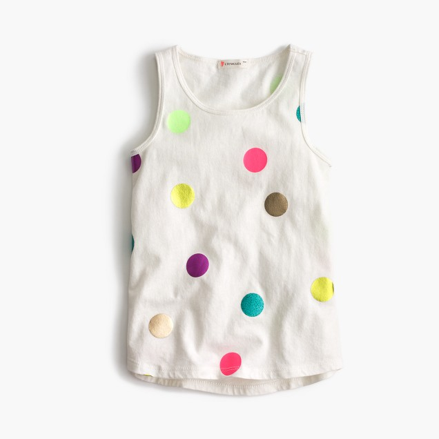 Girls' foil polka-dot tank top