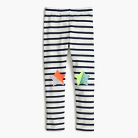 Girls' everyday leggings in stripe with star patches