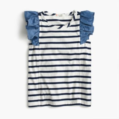 Girls' striped flutter sleeve-tank top