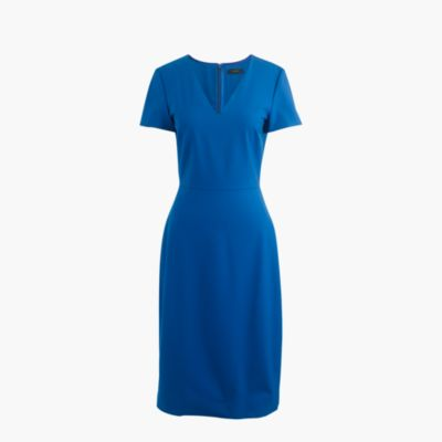 Petite cap-sleeve V-neck dress in Italian stretch wool