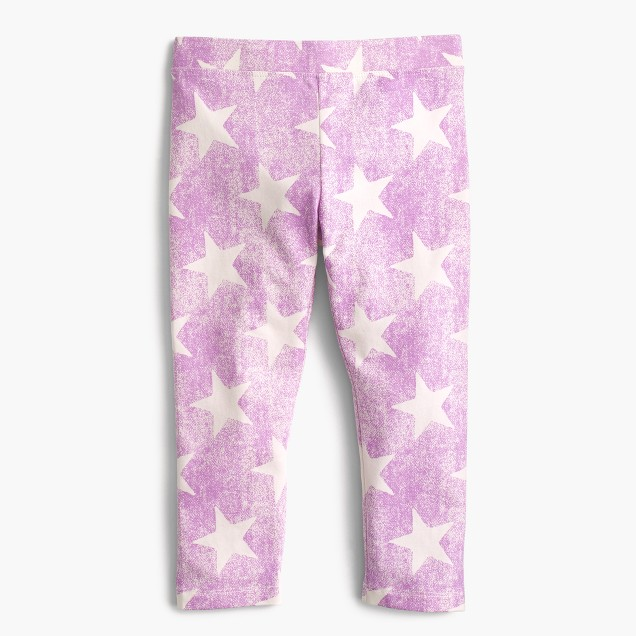 Girls' everyday cropped leggings in star print