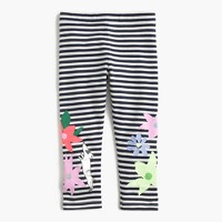 Girls' everyday cropped striped leggings with flowers