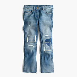 Girls' patched cropped toothpick jean