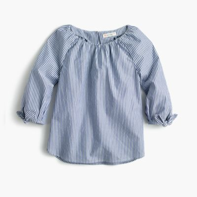 Girls' tie-sleeve top in stripe