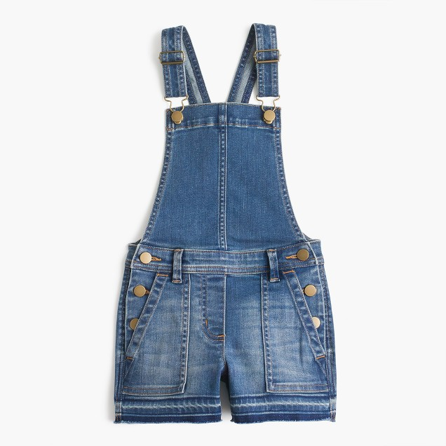 Girls' stretch denim shortalls