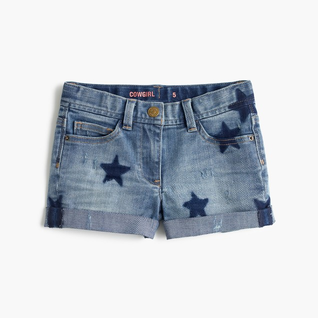 Girls' cowgirl roll-up jean short in star print