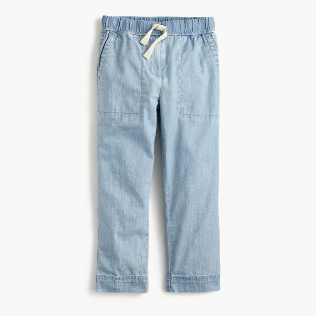 Girls' chambray pull-on pant
