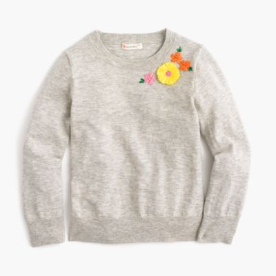 Girls' embroidered garden popover sweater