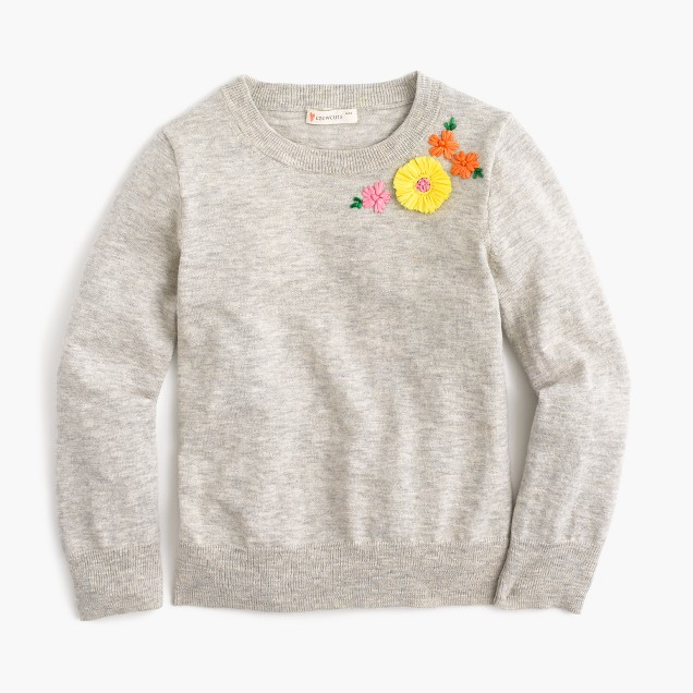 Girls' embroidered garden popover sweater