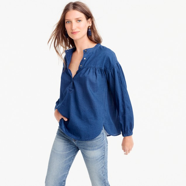 Gathered top in indigo gauze