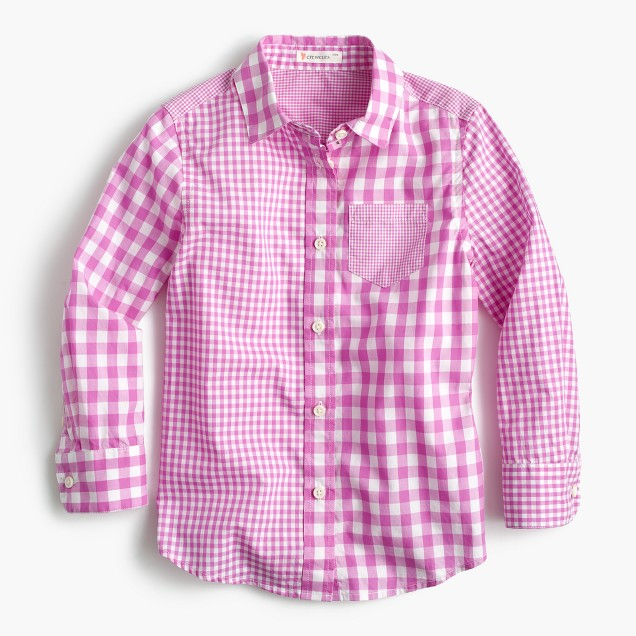 Girls' gingham mash-up shirt