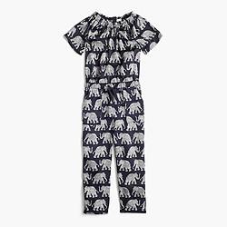 Girls' drapey jumpsuit in elephant print