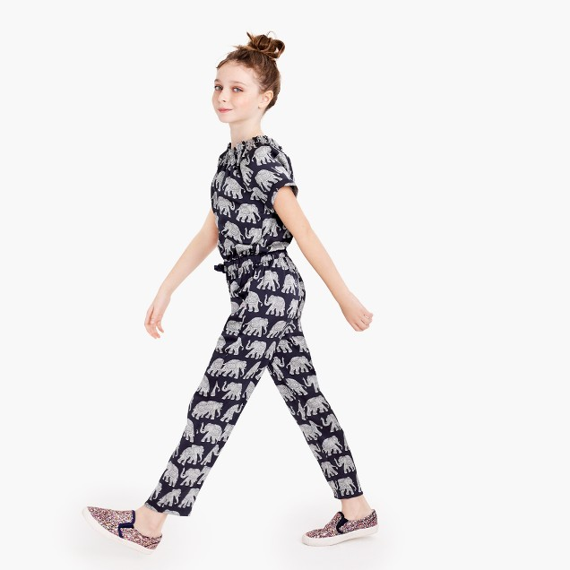 Girls' drapey jumpsuit in elephant print