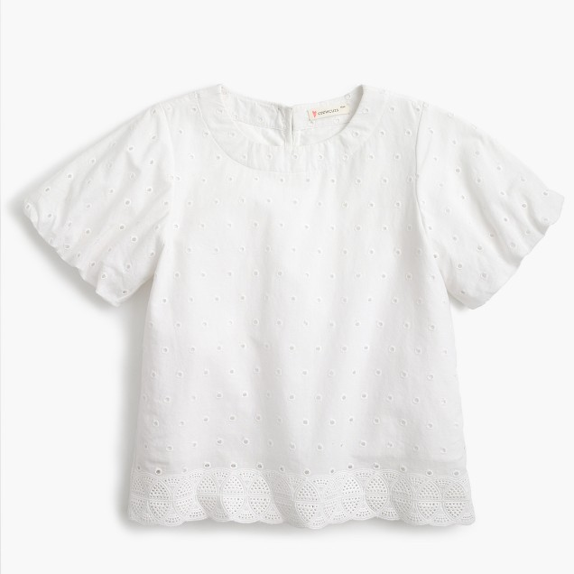 Girls' short-sleeve eyelet top