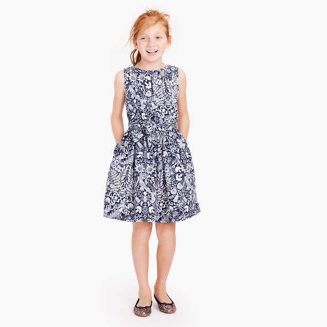 Girls' sleeveless dress in mermaid floral