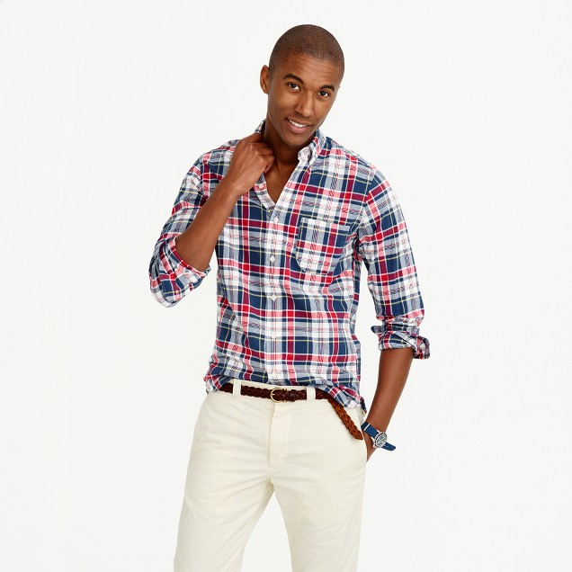 Tall madras shirt in navy ink plaid