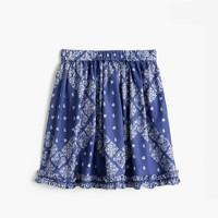 Girls' pull-on ruffle skirt in bandana print