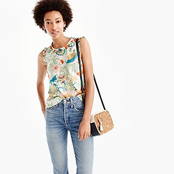 Petite ornate floral ruffle-trim top in silk