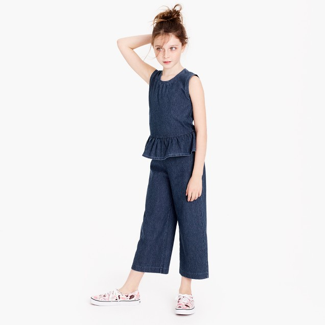 Girls' ruffle jumpsuit in indigo