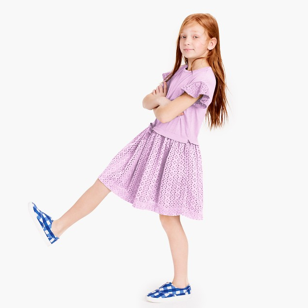 Girls' knit and eyelet dress