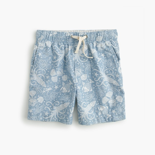 Boys' dock short in aquatic chambray print