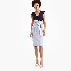 Paper-bag skirt in shirting stripe