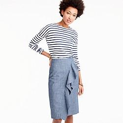 Petite ruffle skirt in chambray