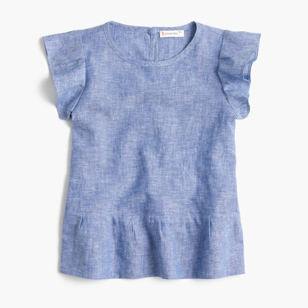 Girls' pleated peplum top in chambray