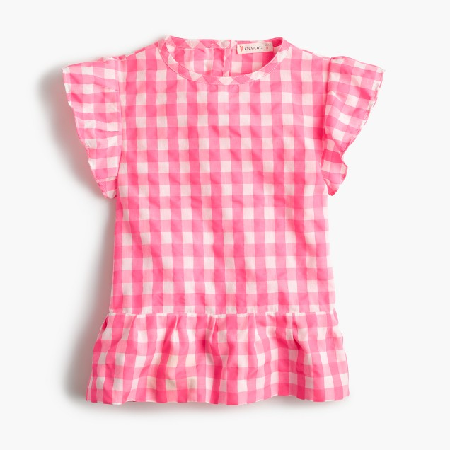 Girls' cap-sleeve top in bright gingham