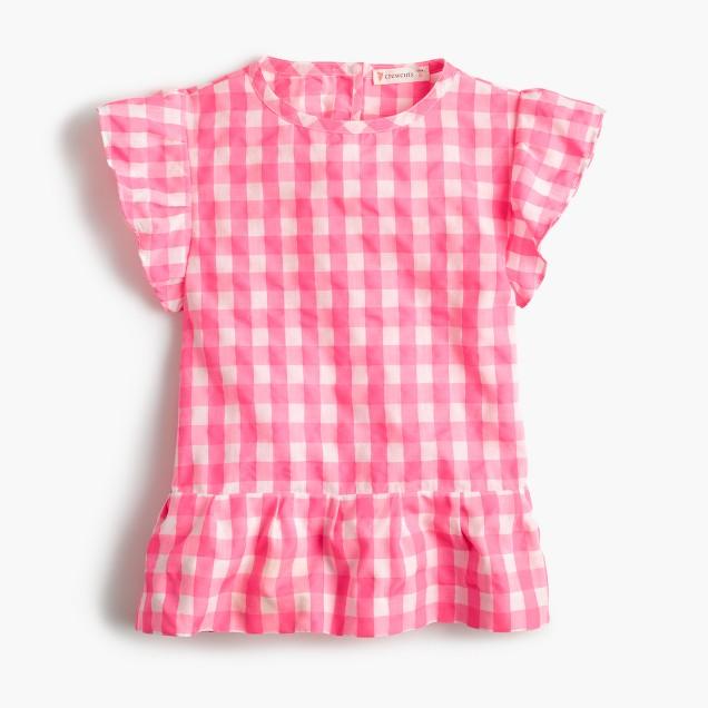 Girls' cap-sleeve top in bright gingham