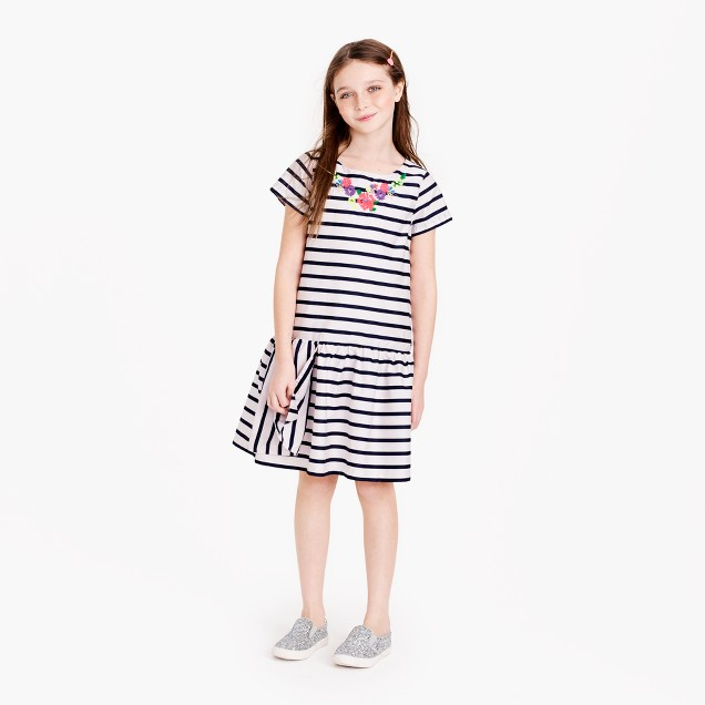 Girls' striped necklace dress