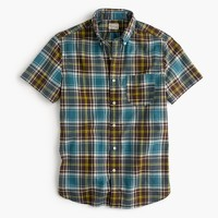 Short-sleeve madras shirt in dusty turnip
