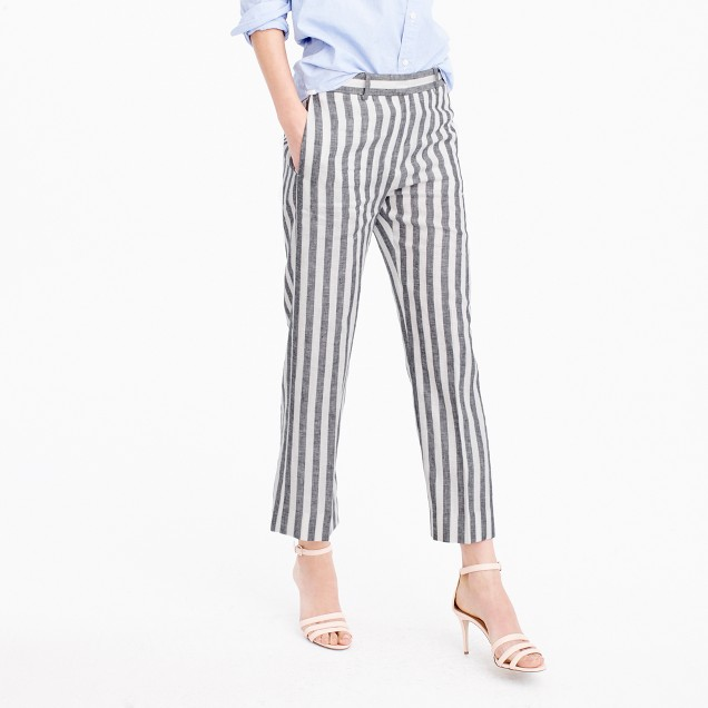 Cropped pant in striped linen