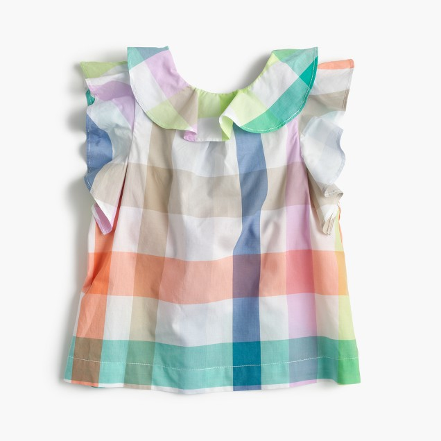 Girls' ruffle-back top in oversized rainbow gingham