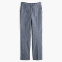 Cropped chambray ruffle pant