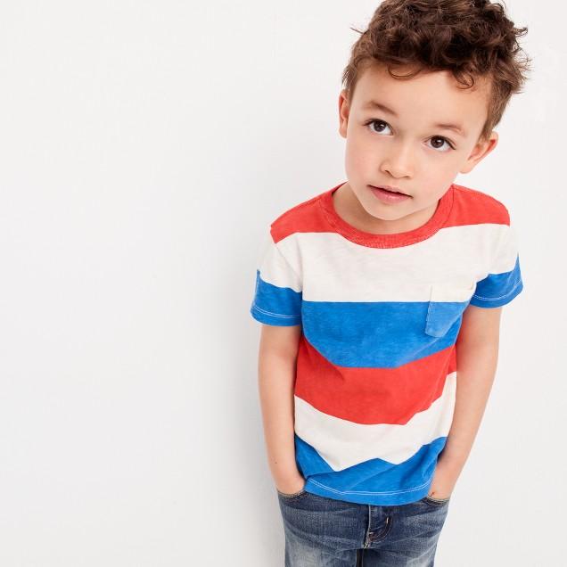 Boys' pocket T-shirt in faded stripe