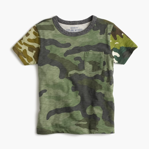 Boys' pocket T-shirt in camo mash-up