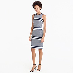 Petite sheath dress in striped navy tweed