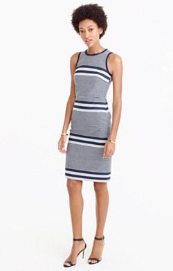 Sheath dress in striped navy tweed