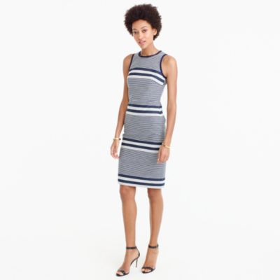 Petite sheath dress in striped navy tweed